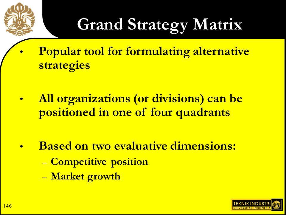 Grand Strategy Matrix Popular tool for formulating alternative strategies.