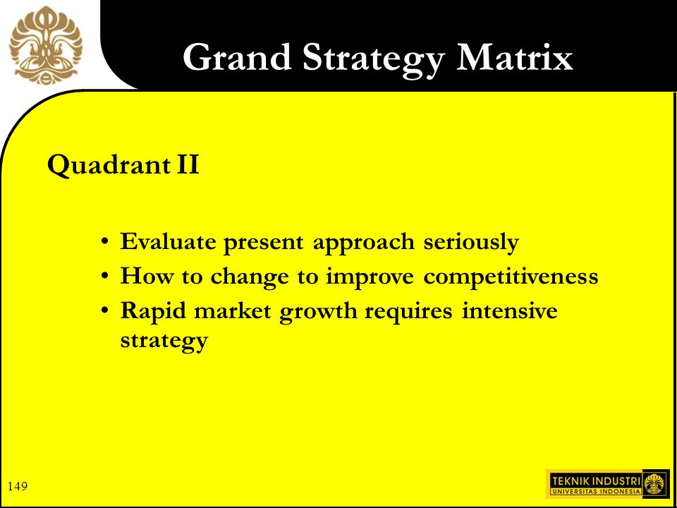 Grand Strategy Matrix Quadrant II Evaluate present approach seriously