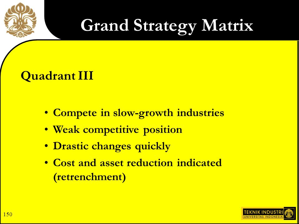 Grand Strategy Matrix Quadrant III Compete in slow-growth industries