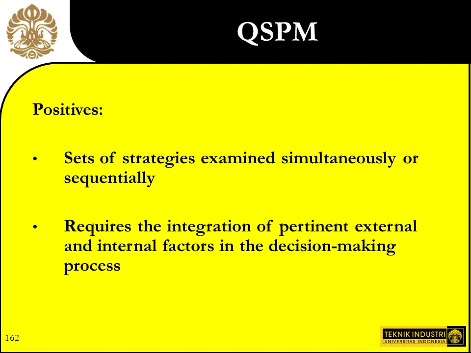 QSPM Positives: Sets of strategies examined simultaneously or sequentially.