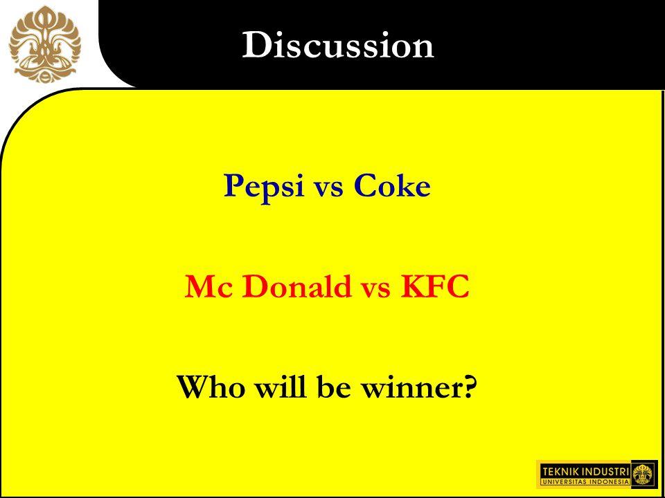 Discussion Pepsi vs Coke Mc Donald vs KFC Who will be winner
