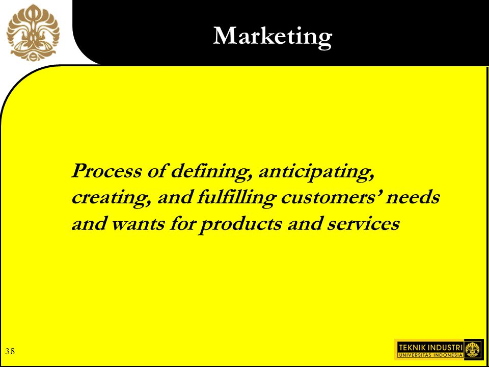 Marketing Process of defining, anticipating, creating, and fulfilling customers' needs and wants for products and services.