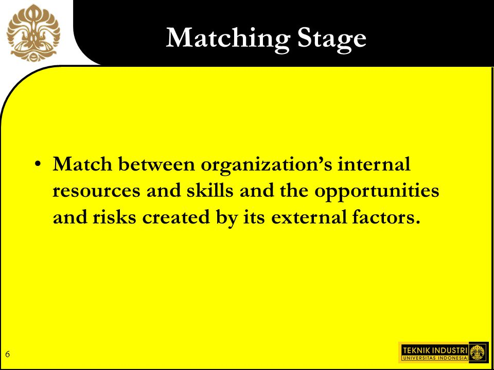 Matching Stage Match between organization's internal resources and skills and the opportunities and risks created by its external factors.