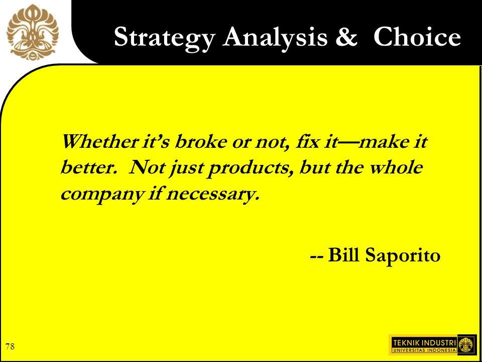 Strategy Analysis & Choice
