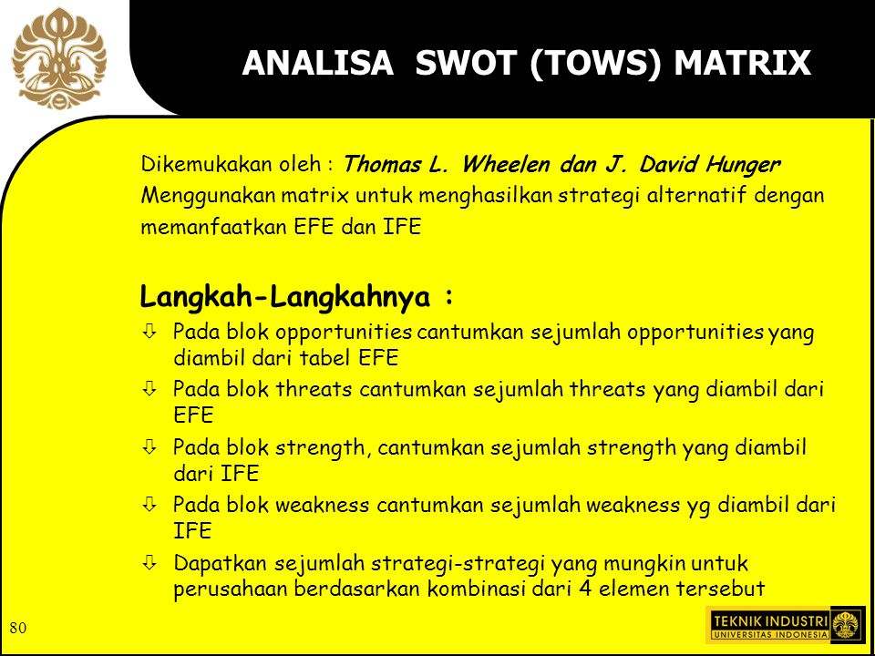 ANALISA SWOT (TOWS) MATRIX