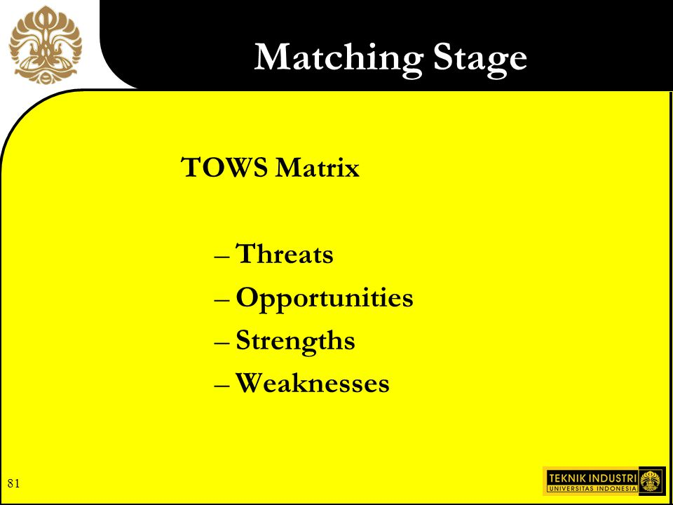 Matching Stage TOWS Matrix Threats Opportunities Strengths Weaknesses