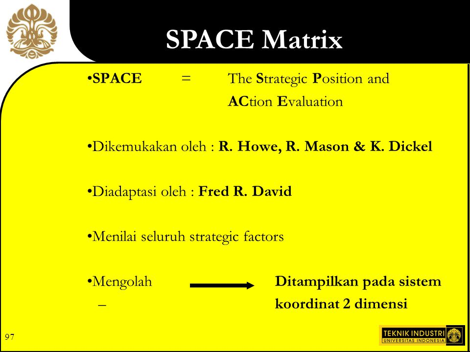 SPACE Matrix SPACE = The Strategic Position and ACtion Evaluation