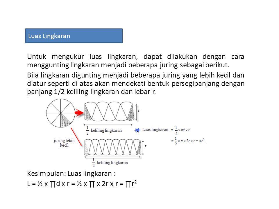 Kesimpulan: Luas lingkaran : L = ½ x ∏d x r = ½ x ∏ x 2r x r = ∏r²