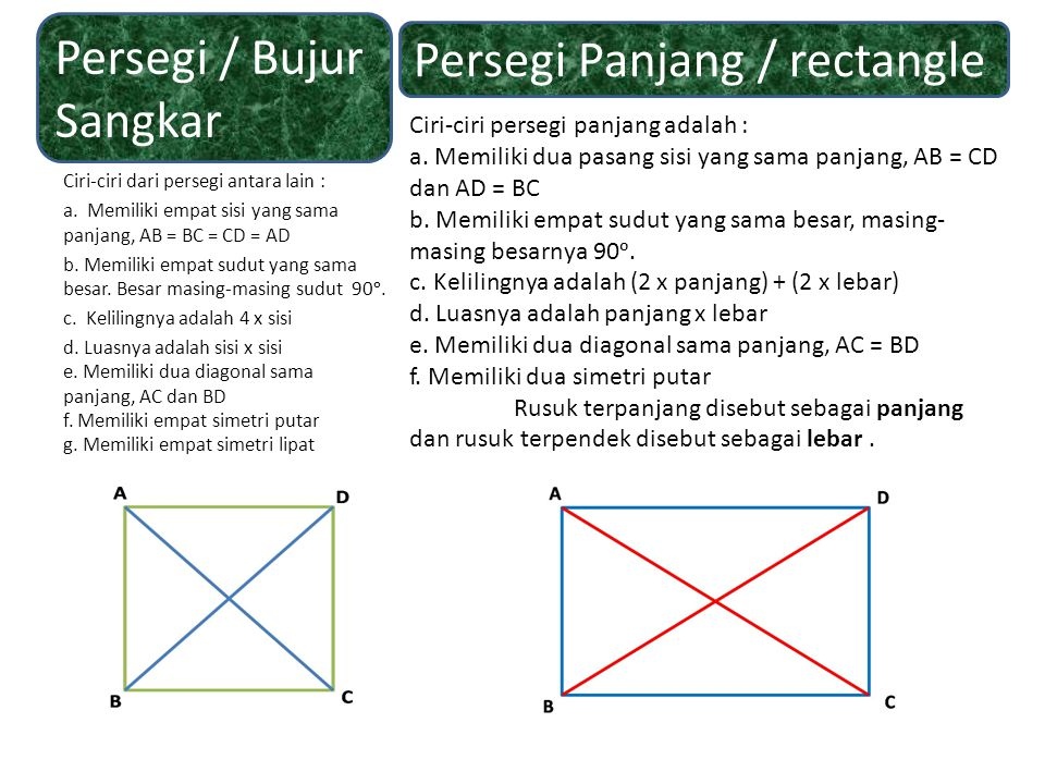 Persegi / Bujur Sangkar Persegi Panjang / rectangle