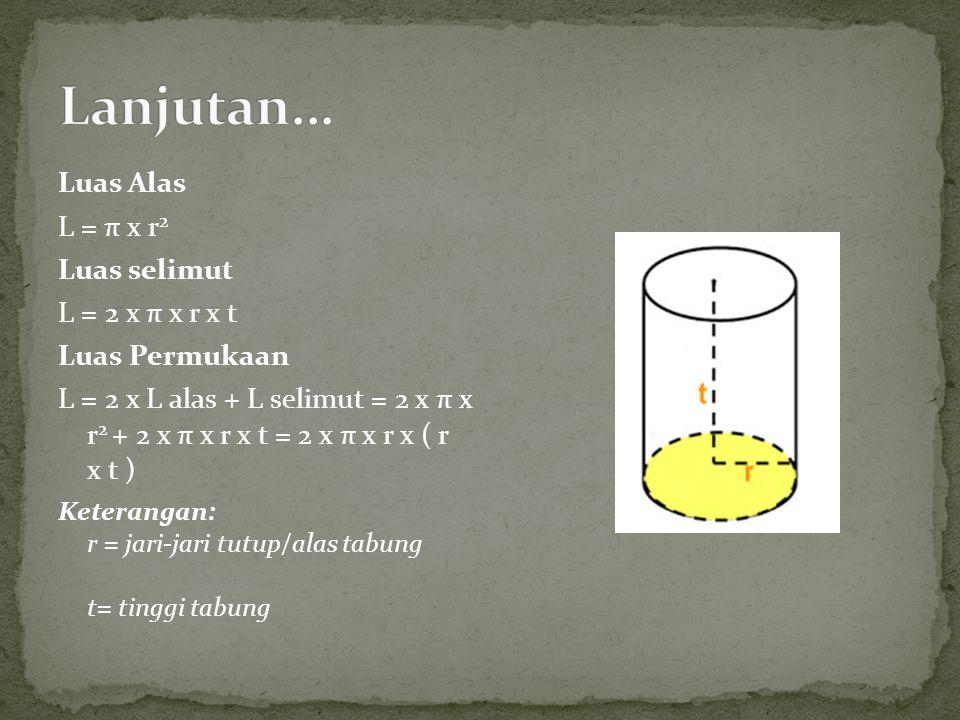 Lanjutan... Luas Alas L = π x r2 Luas selimut L = 2 x π x r x t