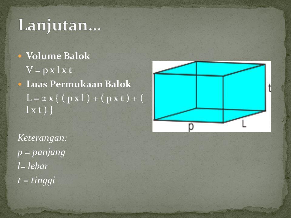 Lanjutan... Volume Balok V = p x l x t Luas Permukaan Balok