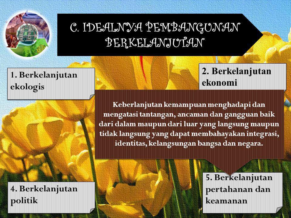 C. IDEALNYA PEMBANGUNAN BERKELANJUTAN