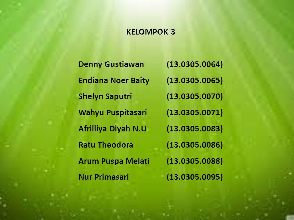 KELOMPOK 3 Denny Gustiawan. (13. 0305. 0064) Endiana Noer Baity. (13