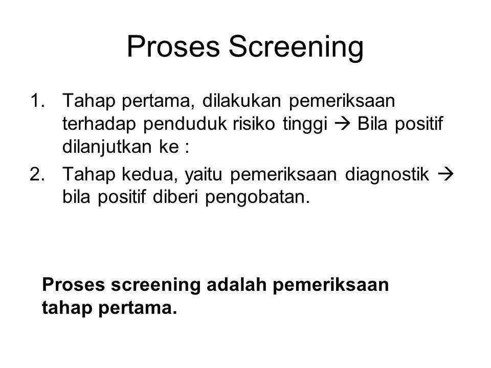 Proses Screening Tahap pertama, dilakukan pemeriksaan terhadap penduduk risiko tinggi  Bila positif dilanjutkan ke :