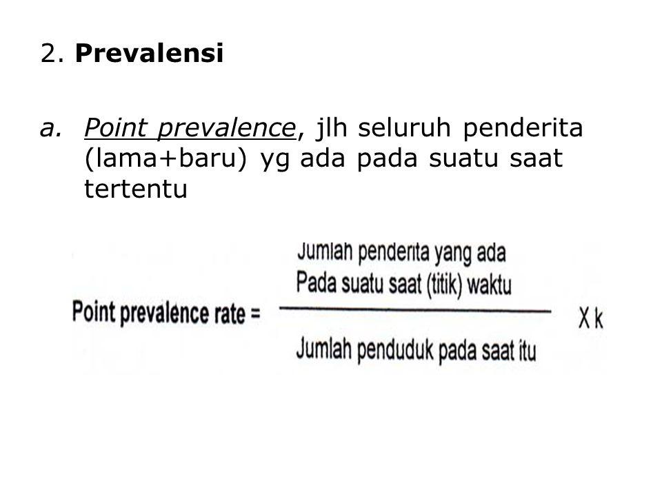 2. Prevalensi Point prevalence, jlh seluruh penderita (lama+baru) yg ada pada suatu saat tertentu
