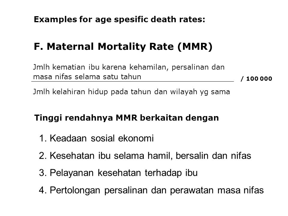 F. Maternal Mortality Rate (MMR)