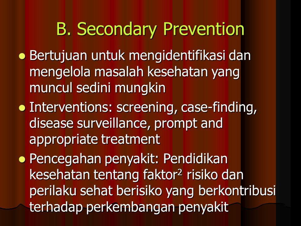 B. Secondary Prevention