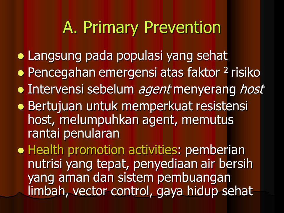 A. Primary Prevention Langsung pada populasi yang sehat