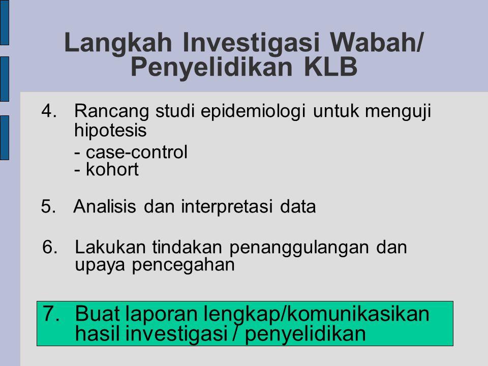 Langkah Investigasi Wabah/ Penyelidikan KLB