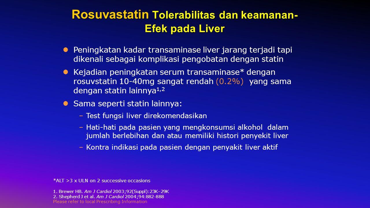 Rosuvastatin Tolerabilitas dan keamanan- Efek pada Liver