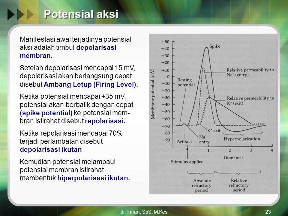 Potensial aksi Manifestasi awal terjadinya potensial aksi adalah timbul depolarisasi membran.