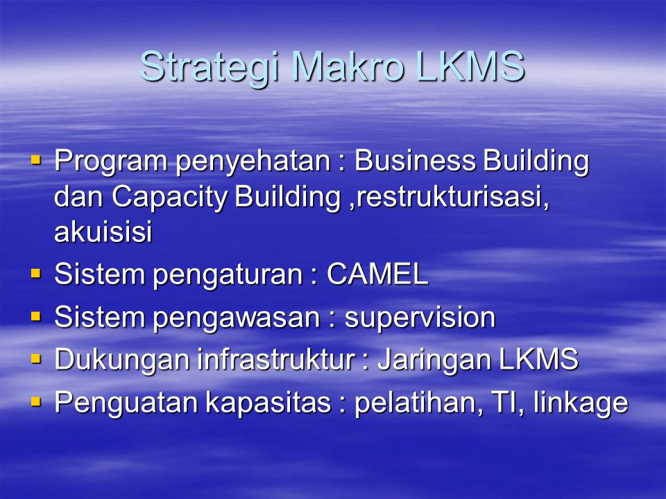 Strategi Makro LKMS Program penyehatan : Business Building dan Capacity Building ,restrukturisasi, akuisisi.