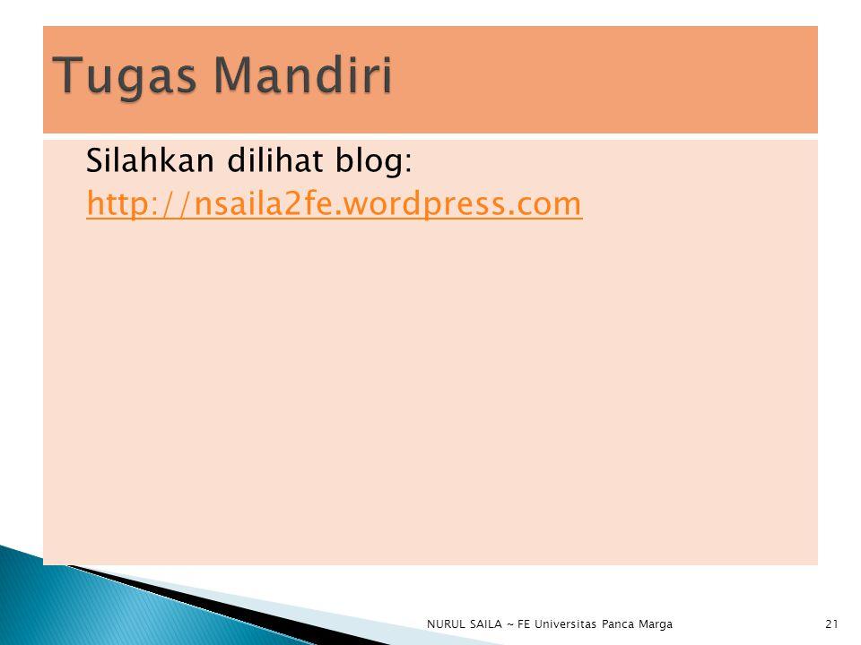 Tugas Mandiri Silahkan dilihat blog: http://nsaila2fe.wordpress.com
