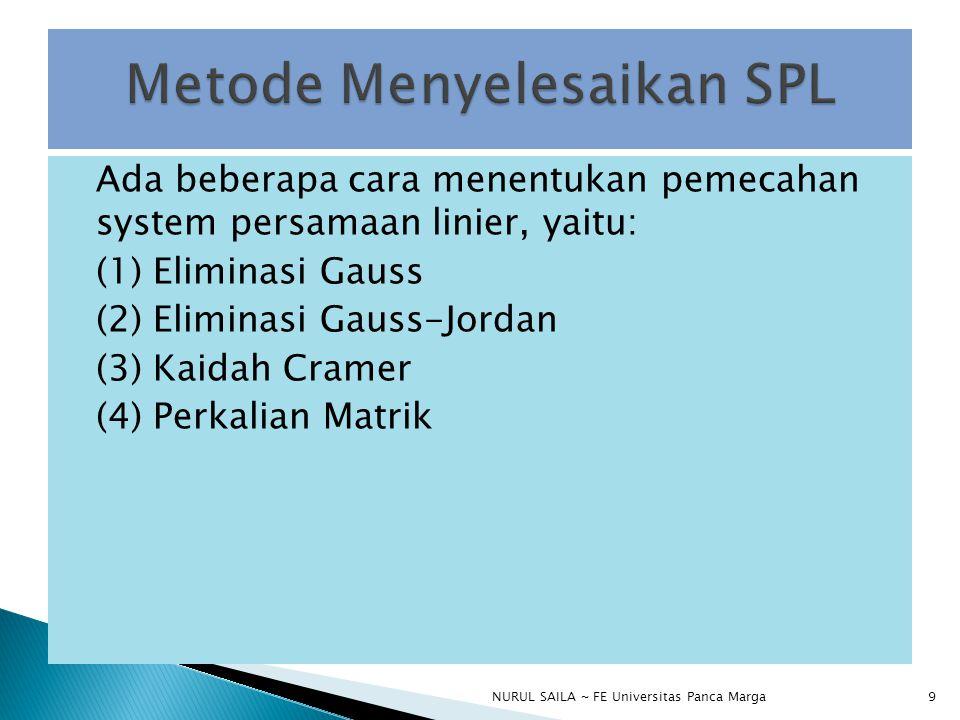 Metode Menyelesaikan SPL