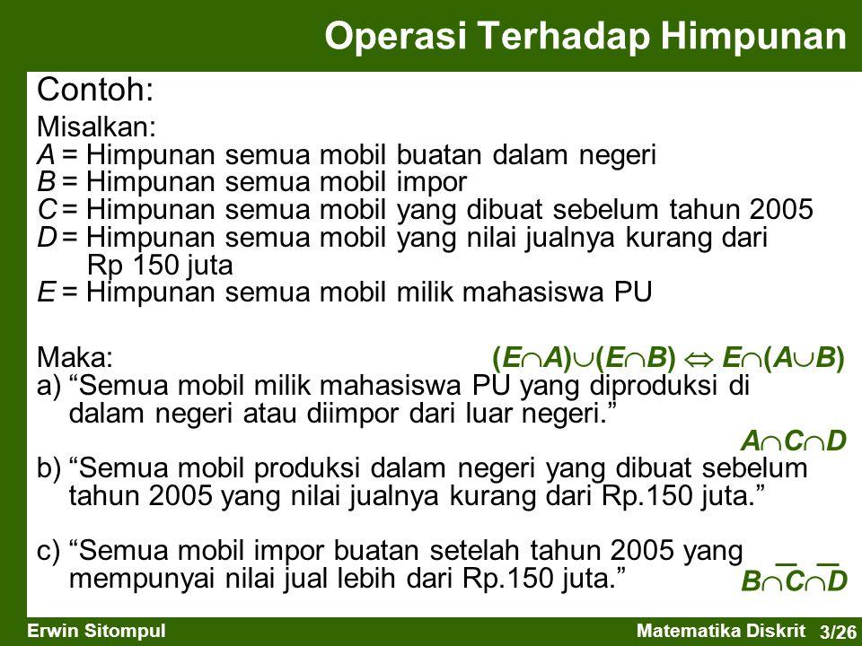 Operasi Terhadap Himpunan