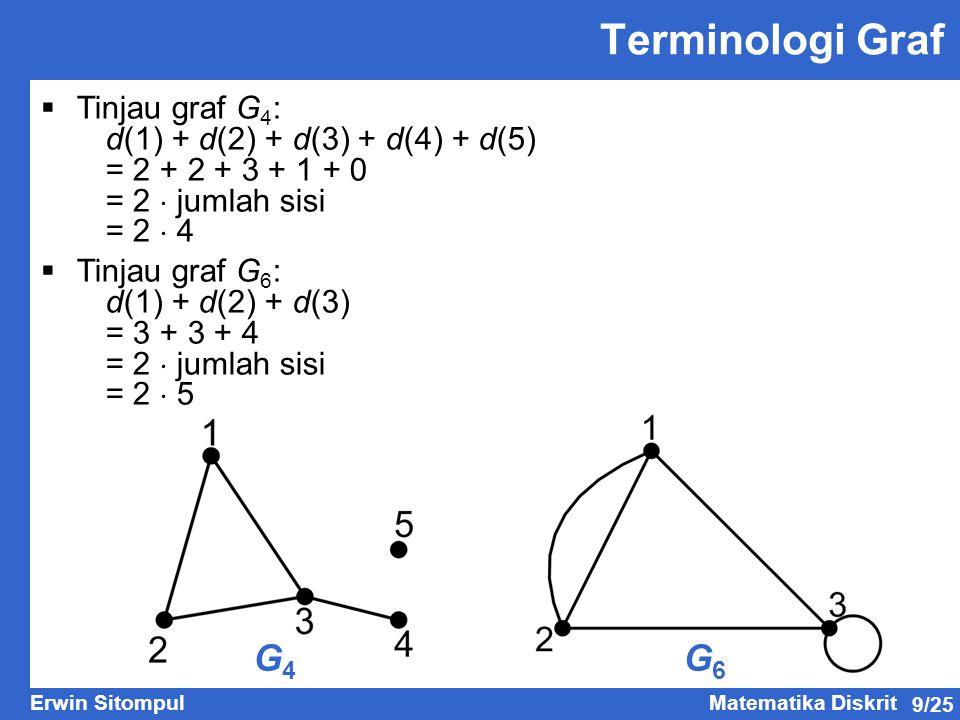 Terminologi Graf G4 G6 Tinjau graf G4:
