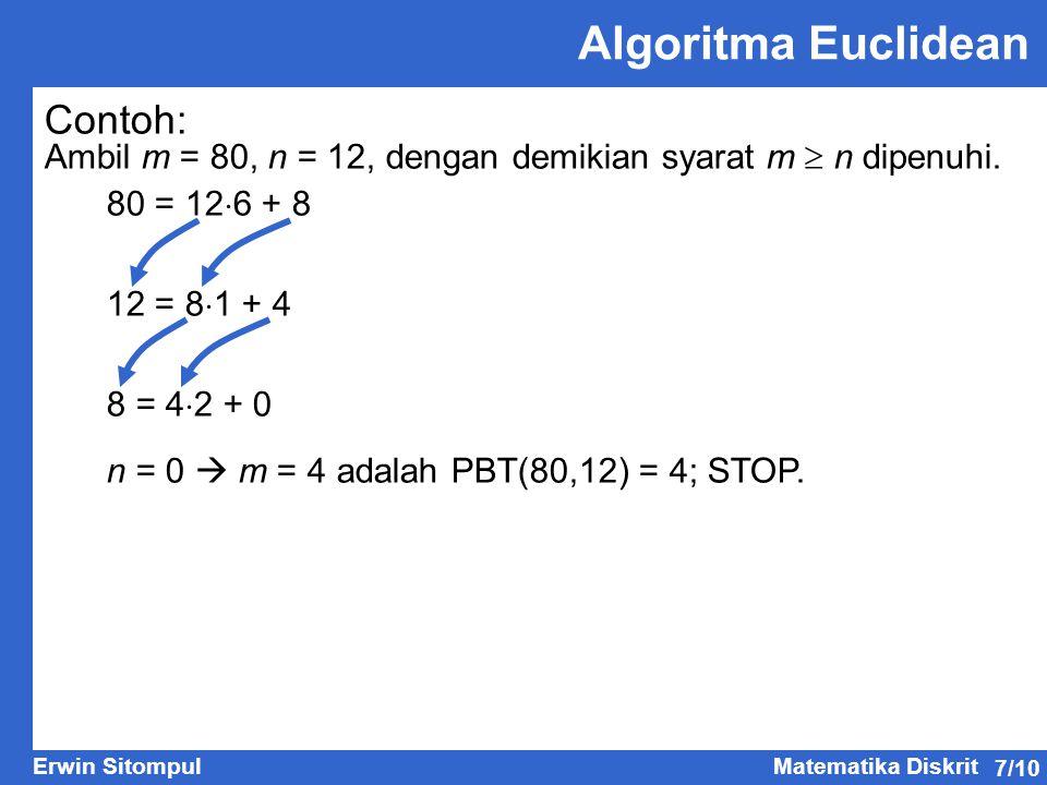 Algoritma Euclidean Contoh: