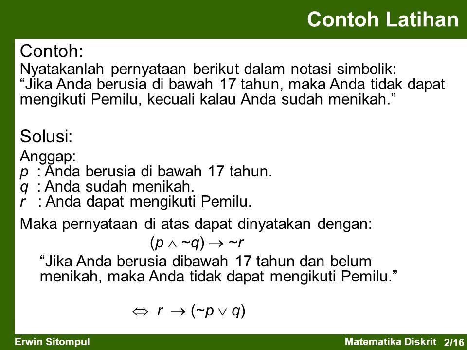 Contoh Latihan Contoh: Solusi: