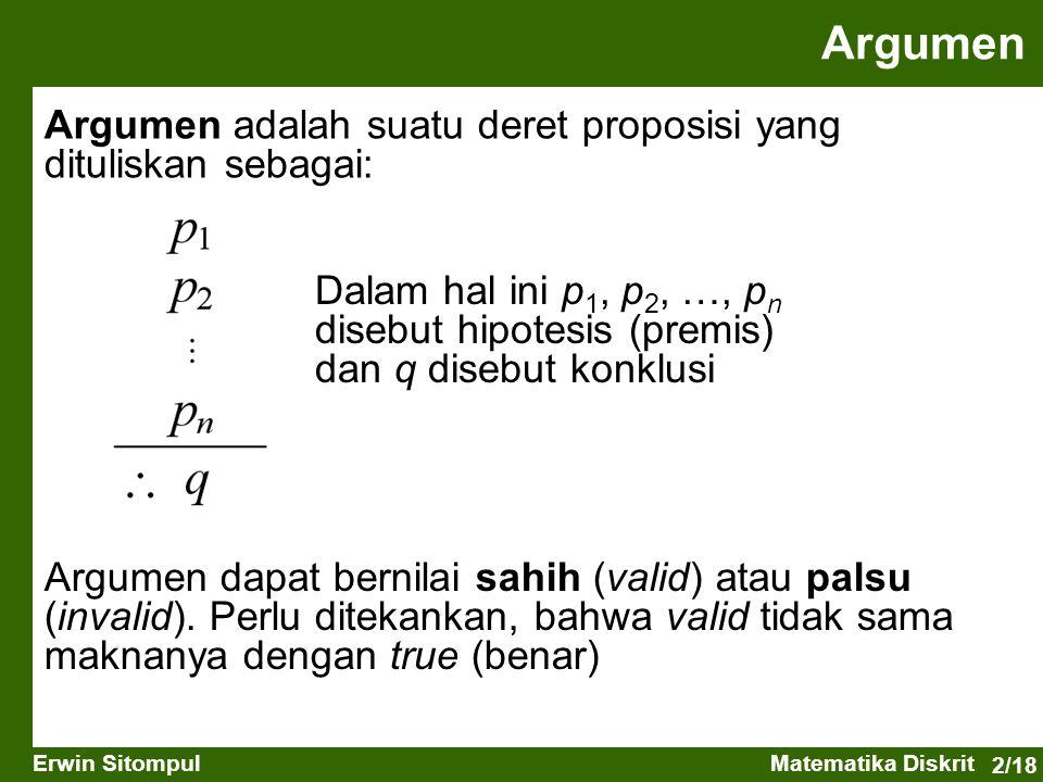 Argumen Argumen adalah suatu deret proposisi yang dituliskan sebagai:
