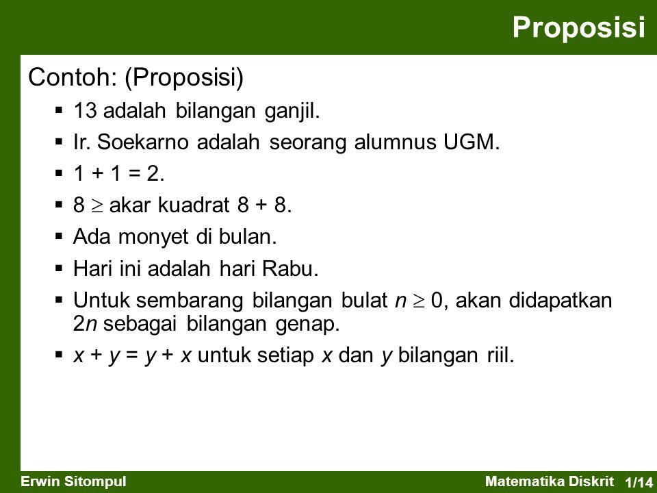 Proposisi Contoh: (Proposisi) 13 adalah bilangan ganjil.