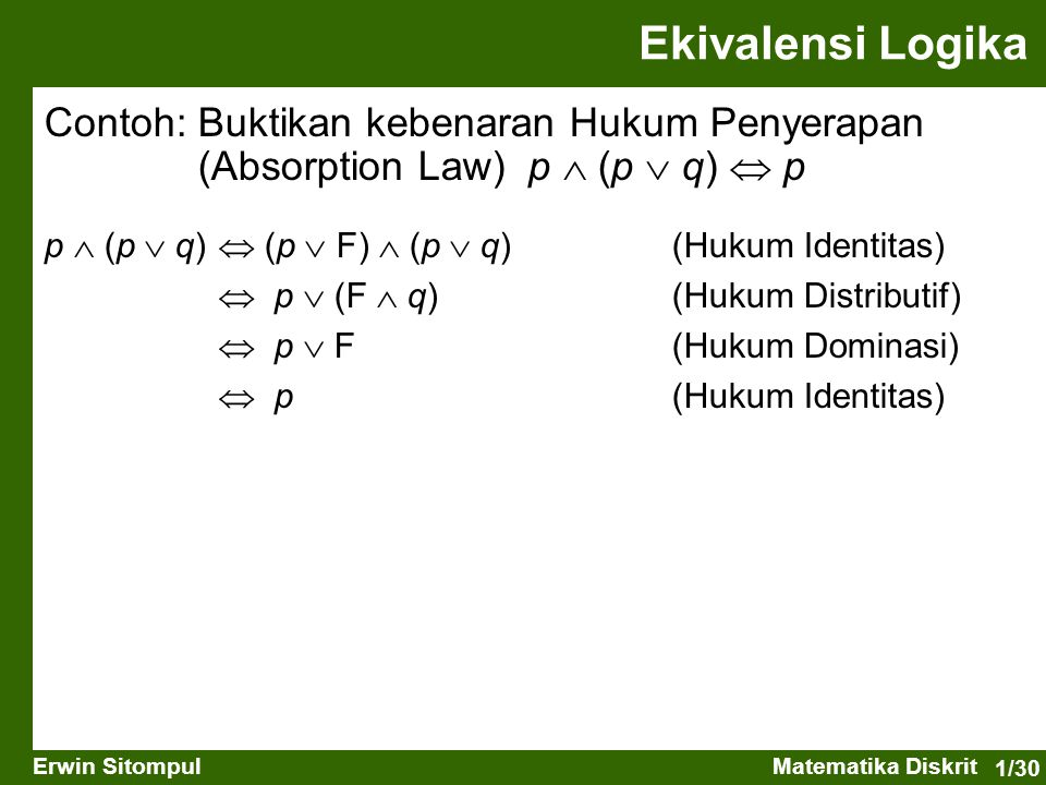 Ekivalensi Logika Contoh: Buktikan kebenaran Hukum Penyerapan (Absorption Law) p  (p  q)  p. p  (p  q)  (p  F)  (p  q) (Hukum Identitas)