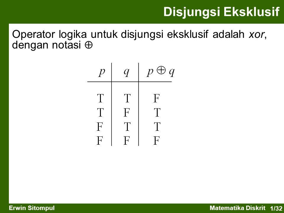 Disjungsi Eksklusif Operator logika untuk disjungsi eksklusif adalah xor, dengan notasi 