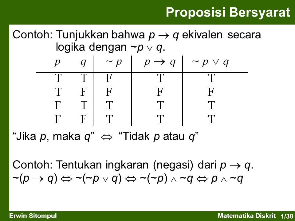 Proposisi Bersyarat Contoh: Tunjukkan bahwa p  q ekivalen secara logika dengan ~p  q. Jika p, maka q  Tidak p atau q