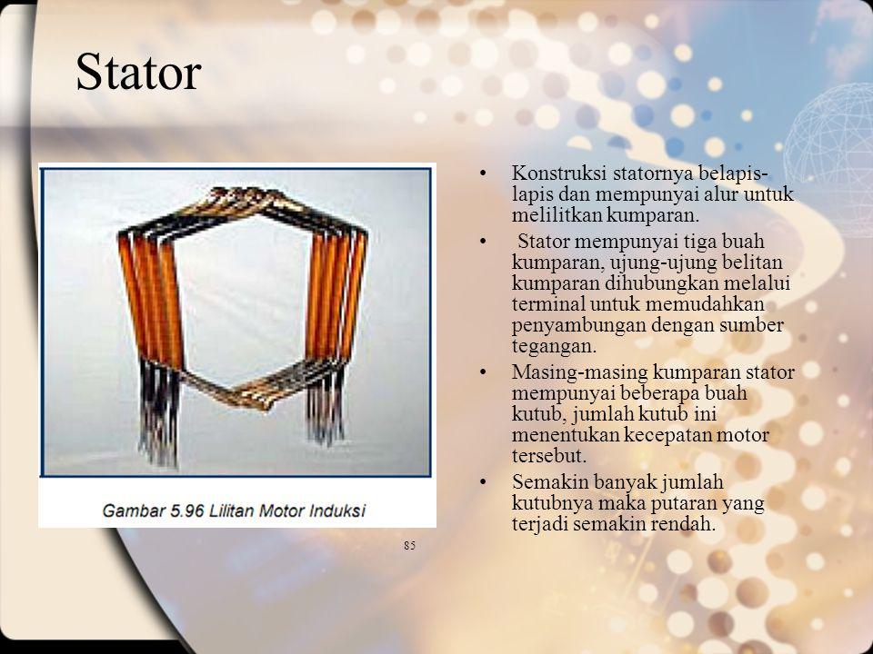 Stator Konstruksi statornya belapis-lapis dan mempunyai alur untuk melilitkan kumparan.