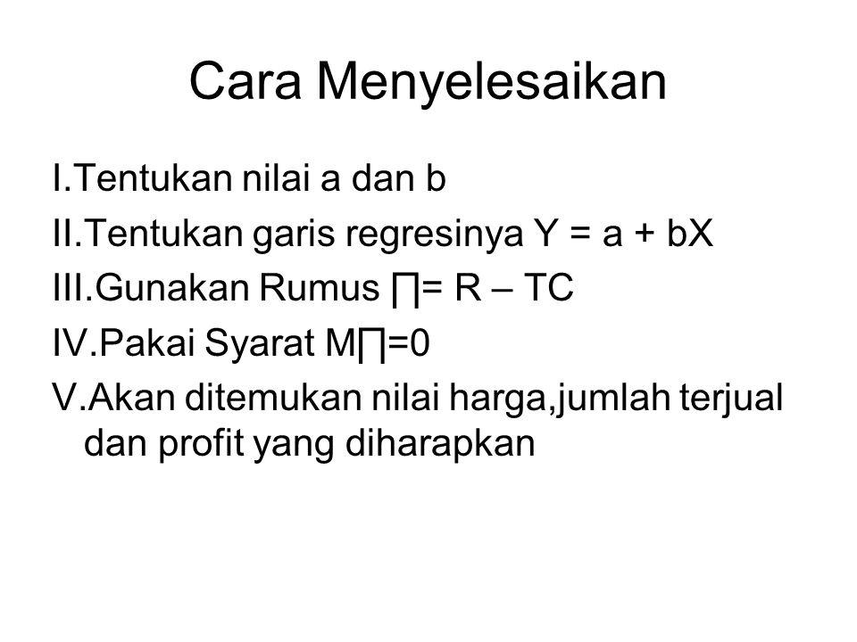 Cara Menyelesaikan I.Tentukan nilai a dan b