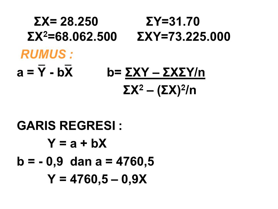 ΣX= 28.250 ΣY=31.70 ΣX2=68.062.500 ΣXY=73.225.000 RUMUS : a = Y - bX b= ΣXY – ΣXΣY/n.