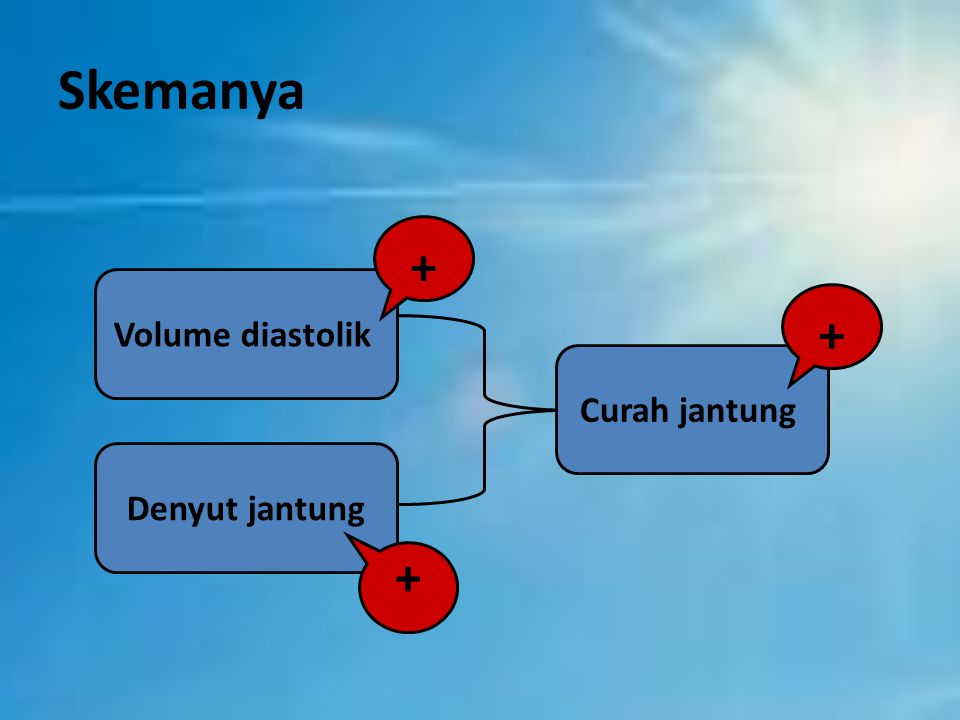 Skemanya + Volume diastolik + Curah jantung Denyut jantung +