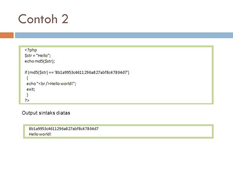 Contoh 2 Output sintaks diatas