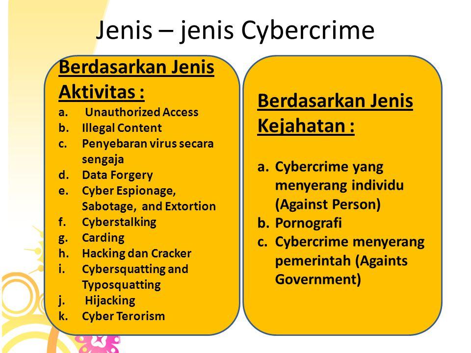 Jenis – jenis Cybercrime