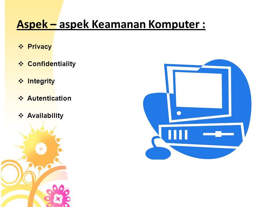 Aspek – aspek Keamanan Komputer :