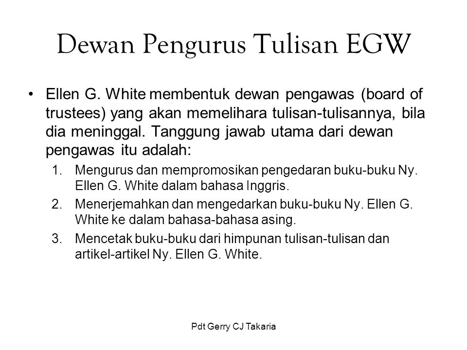 Dewan Pengurus Tulisan EGW