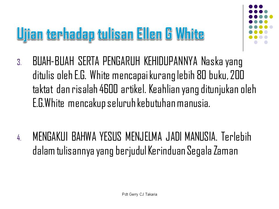 Ujian terhadap tulisan Ellen G White