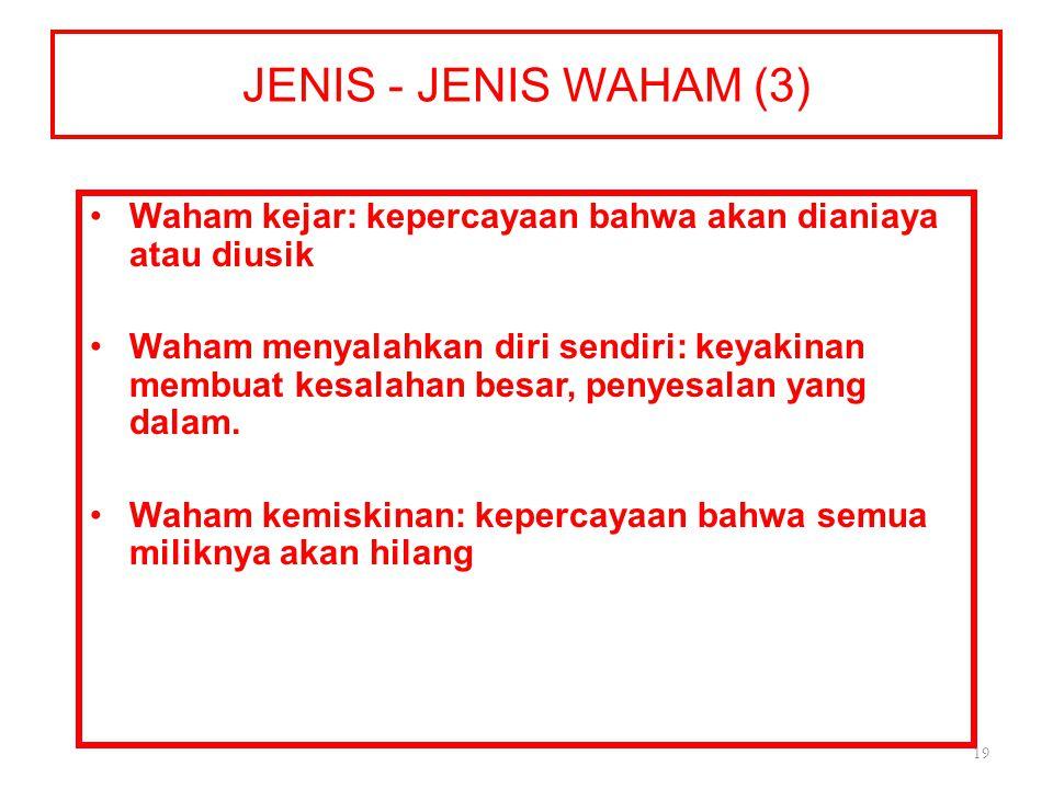 JENIS - JENIS WAHAM (3) Waham kejar: kepercayaan bahwa akan dianiaya atau diusik.