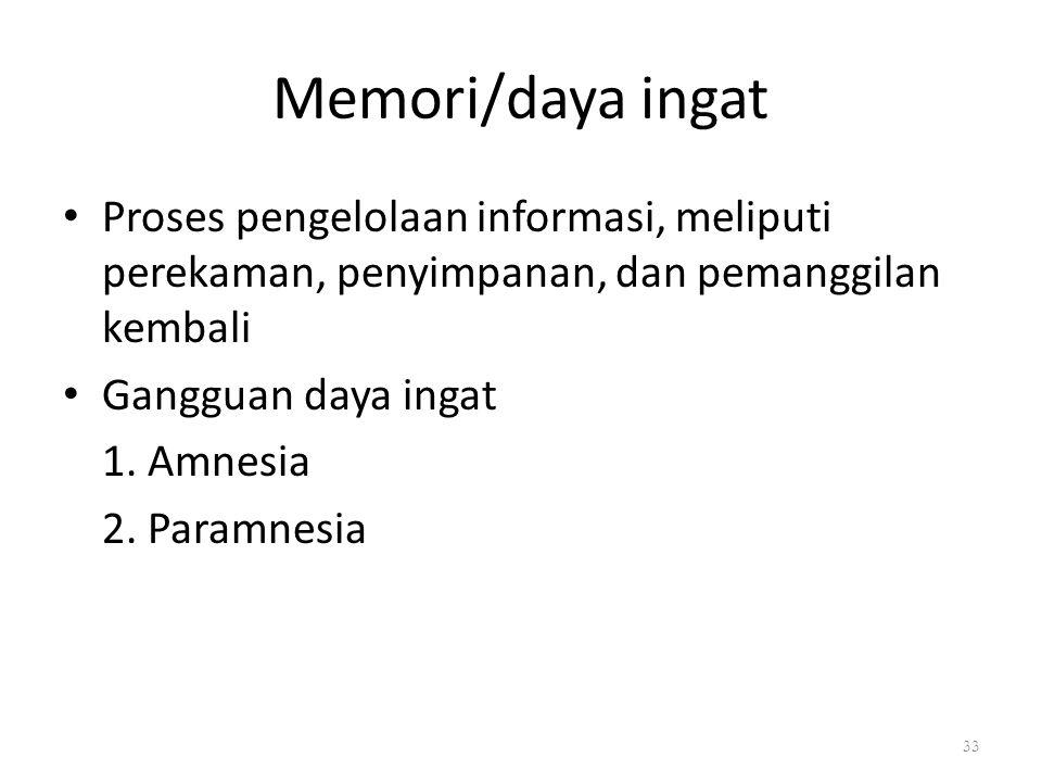 Memori/daya ingat Proses pengelolaan informasi, meliputi perekaman, penyimpanan, dan pemanggilan kembali.