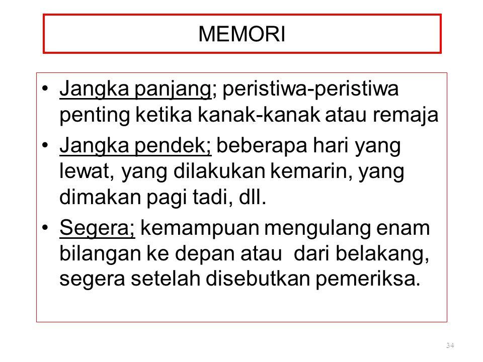 MEMORI Jangka panjang; peristiwa-peristiwa penting ketika kanak-kanak atau remaja.