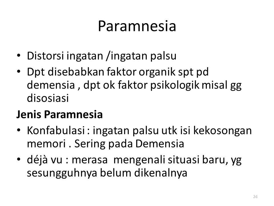 Paramnesia Distorsi ingatan /ingatan palsu